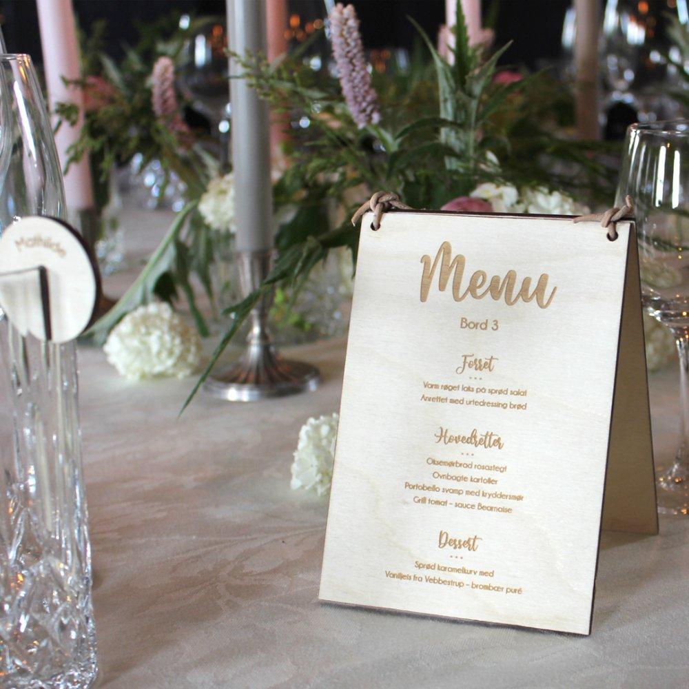 Bord nummer og menukort A6