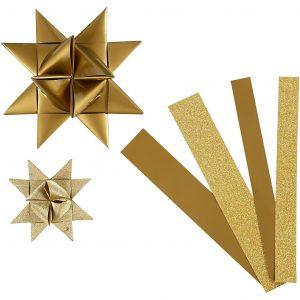 Stjernestrimler guld lak og glitter