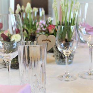 Bordkort glas hjerte birk