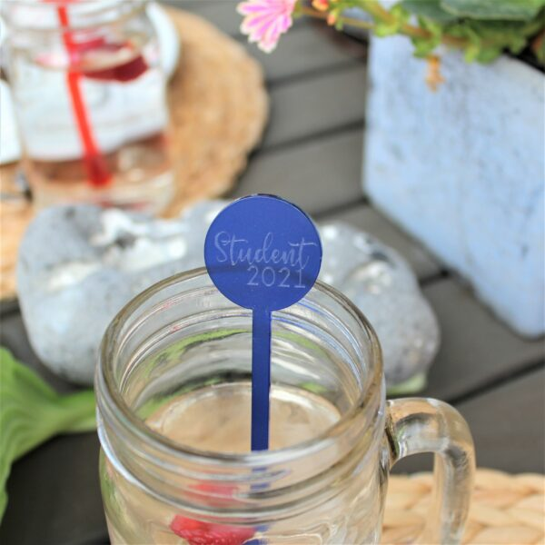 Student 2021 drinkspind blå frostet akryl