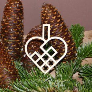 Julehjerte flettet 10 cm birk