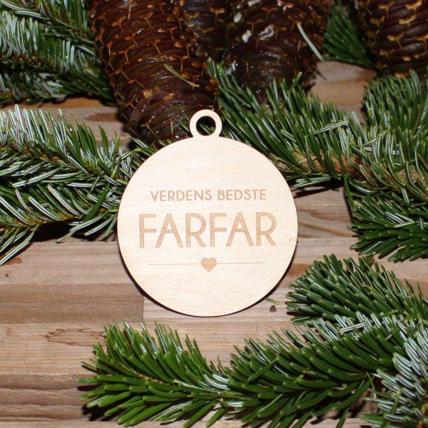 Julekugle med navn i birk